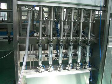 Cina 25 ~ 30 bpm Piston Filling Machine with 6 to 12 filling nozzles for Oil, Syrup & Detergent pabrik